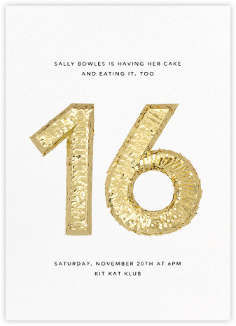 Shine (Sixteen) - White - CONFETTISYSTEM - Sweet 16 invitations