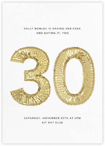 Shine (Thirty) - White - CONFETTISYSTEM - Birthday invitations