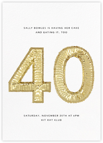 Shine (Forty) - White - CONFETTISYSTEM - Milestone Birthday Invitations