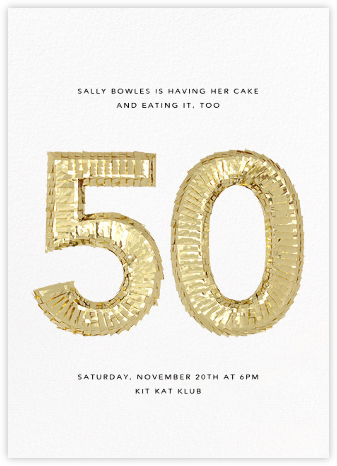 Shine (Fifty) - White - CONFETTISYSTEM - Birthday invitations