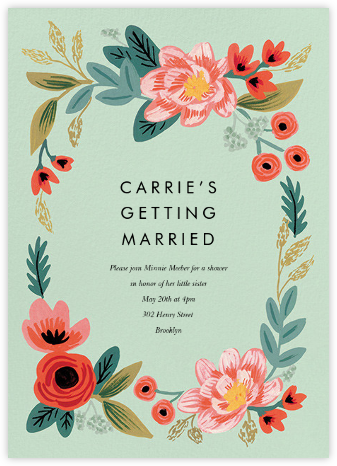 Woven Wildflowers - Green - Rifle Paper Co. - Bridal shower invitations