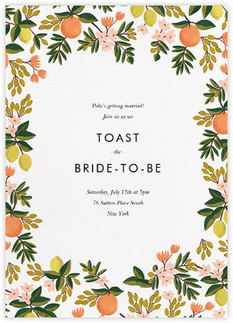 Citrus Orchard Suite (Invitation) - White - Rifle Paper Co. - Bridal shower invitations
