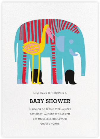 Karkuteilla - Blue - Marimekko - Elephant Baby Shower Invitations