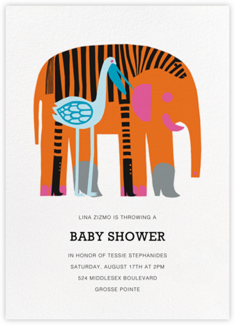 Karkuteilla - Orange - Marimekko - Elephant Baby Shower Invitations
