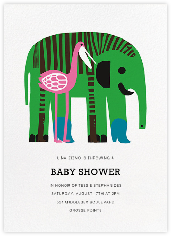 Karkuteilla - Green - Marimekko - Elephant Baby Shower Invitations