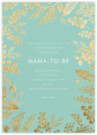 Heather and Lace - Celadon/Gold - Rifle Paper Co. - Baby shower invitations