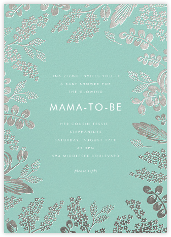 Heather and Lace - Celadon/Silver - Rifle Paper Co. - Baby Shower Invitations