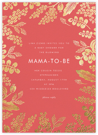 Heather and Lace - Coral/Gold - Rifle Paper Co. - Baby Shower Invitations