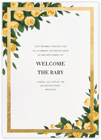 Teablossom (Invitation) - Gold/Yellow - Paperless Post - Baby Shower Invitations