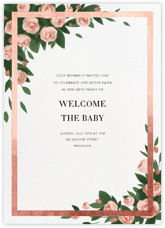 Teablossom (Invitation) - Gold/Pink - Paperless Post - Baby Shower Invitations
