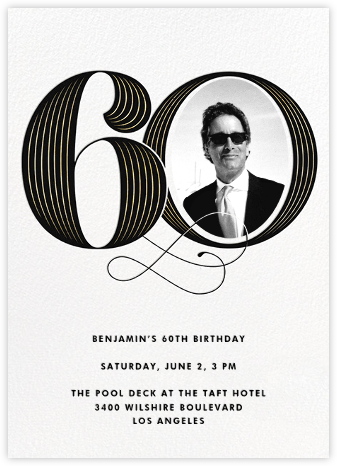 Pinstripe Numerals (Sixty) - Paperless Post - Milestone birthday invitations