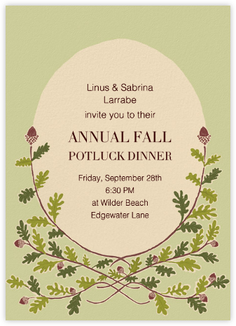 Watercolor Acorns - Paperless Post - Autumn entertaining invitations