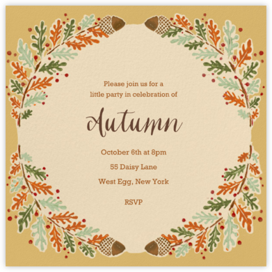 Watercolor Autumn Frame - Paperless Post - Fall Entertaining Invitations