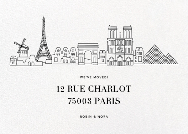 Paris Skyline View - White/Black - Paperless Post -
