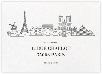 Paris Skyline View - White/Black - Paperless Post - Announcements