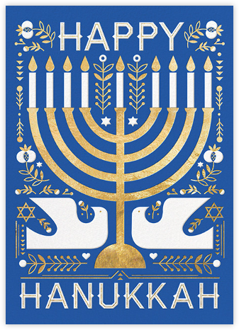 Hanukkah Doves (Greeting) - Hello!Lucky - Hanukkah Cards
