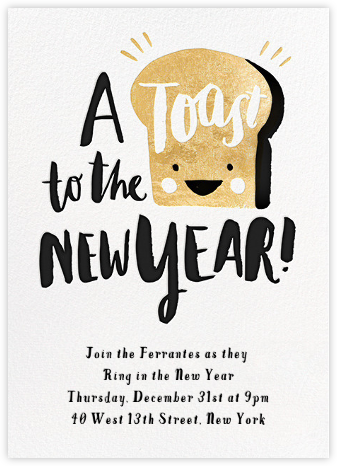 new years toast invitation
