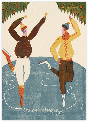 Two Skaters (Barbara Dziadosz) - Red Cap Cards - Holiday cards