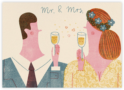 Mr. and Mrs. Bubbly (Barbara Dziadosz) - Red Cap Cards - Wedding Congratulations Cards