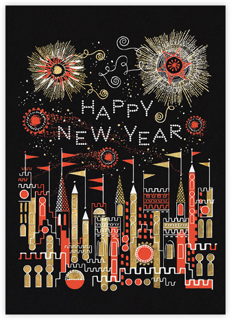 Golden Fireworks (Lesley Barnes) - Red Cap Cards - New Year Cards