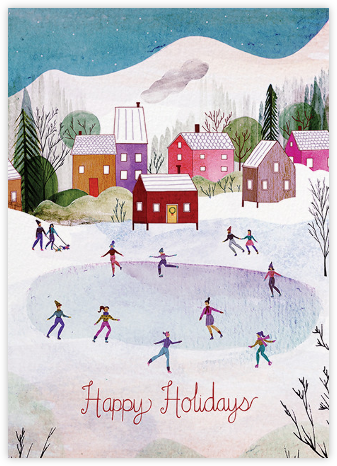 Village Skating (Josie Portillo) - Red Cap Cards - Holiday Cards