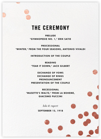 Confetti (Program) - White/Rose Gold - kate spade new york - Wedding menus and programs - available in paper