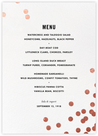 Confetti (Menu) - White/Rose Gold - kate spade new york - Wedding menus and programs - available in paper