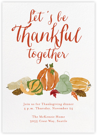 Gourd Times - Crate & Barrel - Thanksgiving invitations