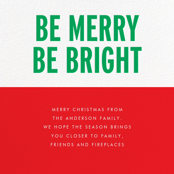 Be Merry Be Bright (Greeting) - Green - kate spade new york - Kate Spade invitations, save the dates, and cards