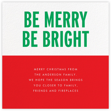 Be Merry Be Bright (Greeting) - Green | square