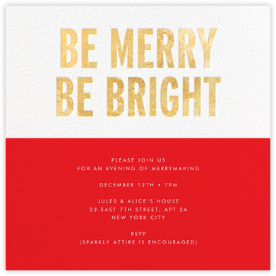 Be Merry Be Bright (Invitation) - Gold - kate spade new york - Business Party Invitations