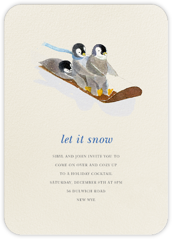 South Pole Sledders (Invitation)  - Felix Doolittle - Winter entertaining invitations