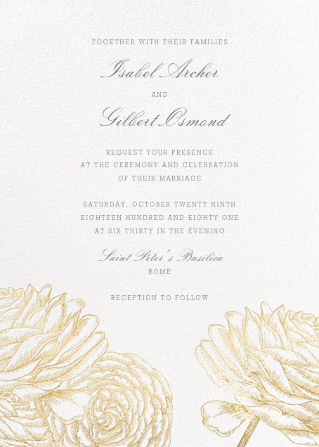 Ranunculus - Gold - Paperless Post - Wedding invitations