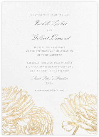 Ranunculus - Gold - Paperless Post - Wedding Invitations