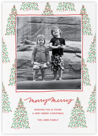 Fir Forest Frame (Tall) - Mint - Linda and Harriett - Photo holiday cards