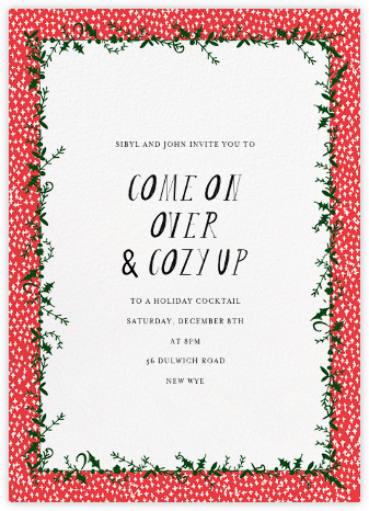 Holly on the Bannister (Tall) - Red - Mr. Boddington's Studio - Winter Party Invitations