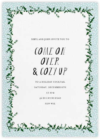 Holly on the Bannister (Tall) - Glacier - Mr. Boddington's Studio - Winter Party Invitations