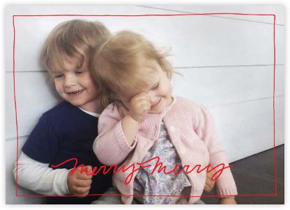 Cursive Merry (Horizontal) - Red - Linda and Harriett - Christmas Cards