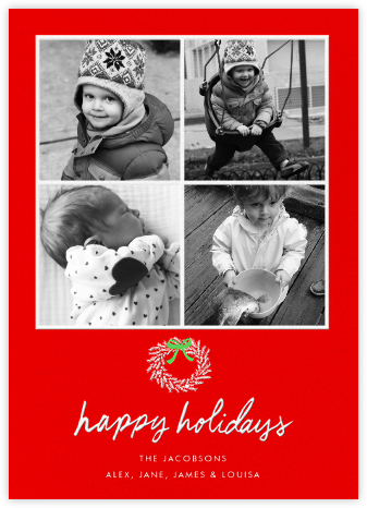 Happy Holidays Wreath (Multi-Photo) - Red - Linda and Harriett - Holiday Cards