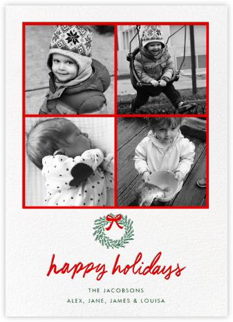 Happy Holidays Wreath (Multi-Photo) - White - Linda and Harriett -