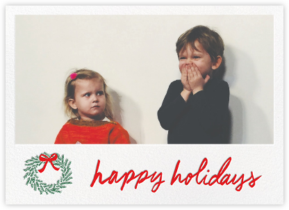 Happy Holidays Wreath (Horizontal) - White - Linda and Harriett - Holiday Cards