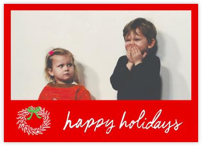Happy Holidays Wreath (Horizontal) - Red - Linda and Harriett -