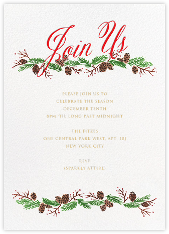 Pine Soiree - Red - Paper + Cup - Winter entertaining invitations