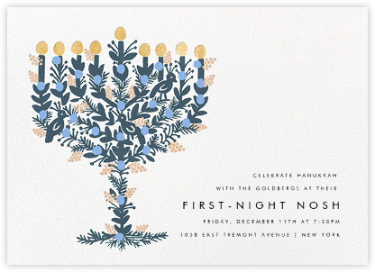 Floral Menorah (Invitation) - White - Rifle Paper Co. - Hanukkah Invitations