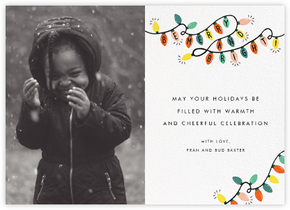 Glow Strings Attached (Horizontal Photo) - Rifle Paper Co. - Christmas Cards