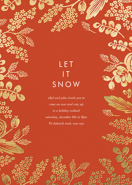 Heather and Lace (Invitation) - Red/Gold - Rifle Paper Co. - Company holiday party