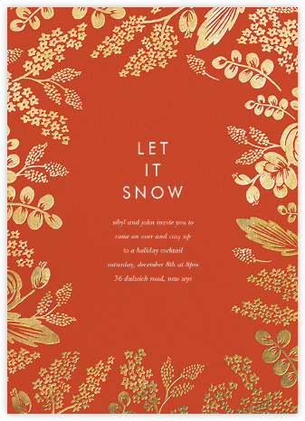 Heather and Lace (Invitation) - Red/Gold - Rifle Paper Co. - Winter entertaining invitations