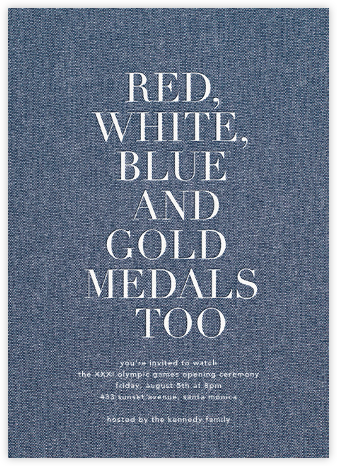 Denim Patch - White - Sugar Paper - Sporting Event Invitations