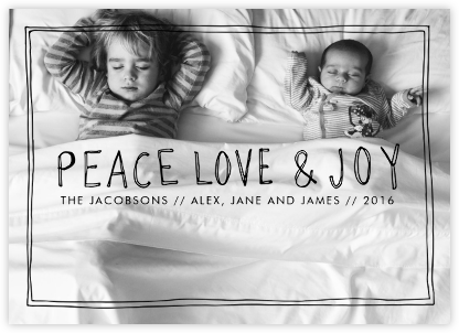 Peace Love Joy Frame - Black - Linda and Harriett - Holiday cards