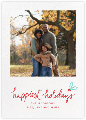Holiday Holly - White - Linda and Harriett - Holiday cards